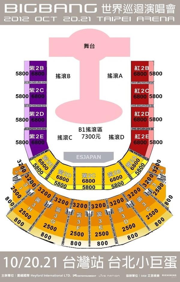 BIGBANG 台湾 座席図