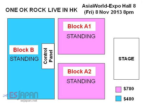 ONE OK ROCK香港座席表