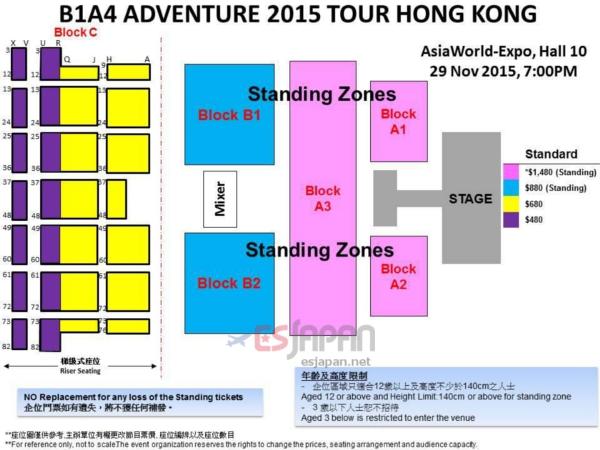 B1A4香港座席表
