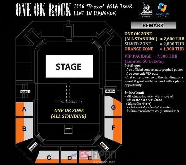 ONE OK ROCK タイ座席表