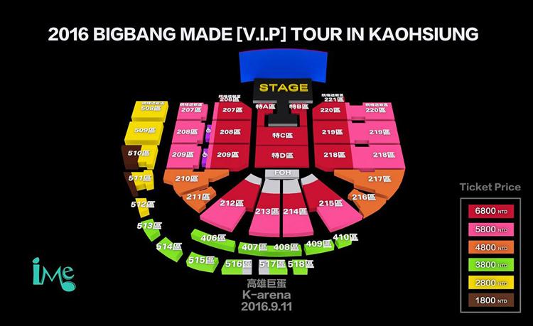 BIGBANG高雄座席表