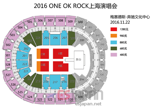 ONE OK ROCK 上海座席表
