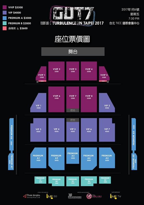 GOT7台湾座席表