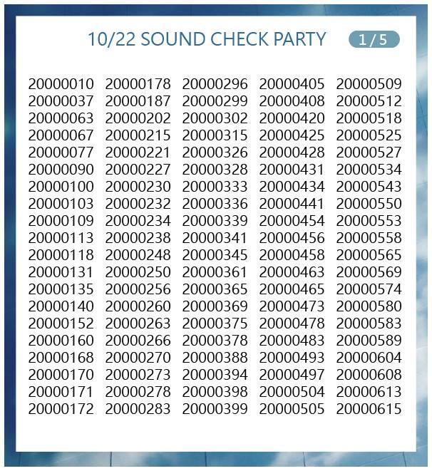 10月22日サウンドチェック当選番号1