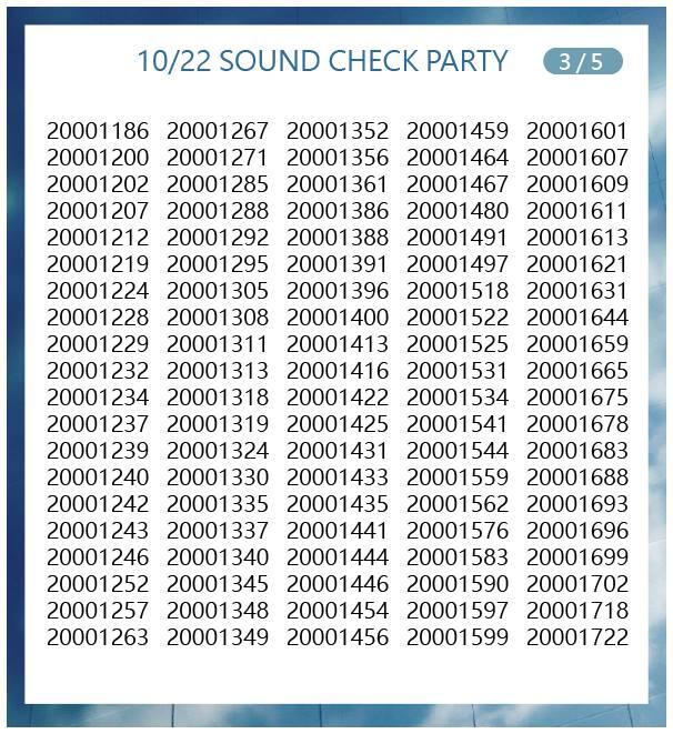10月22日サウンドチェック当選番号3