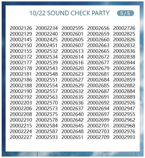 10月22日サウンドチェック当選番号5
