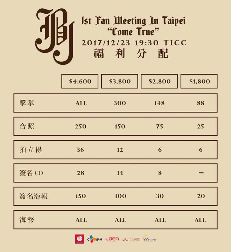 JBJ台湾特典