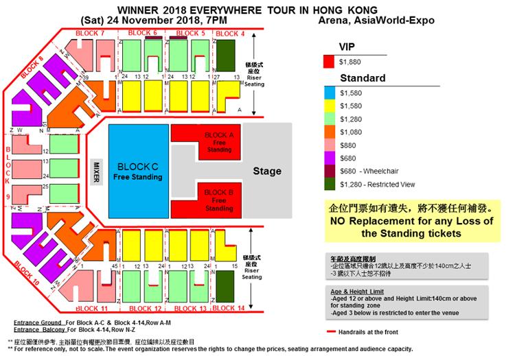 WINNER香港座席表